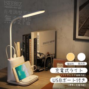 デスクライト スタンドライト 電池内装 Iseebiz ベッドサイドランプ LED 筆立て スマホスタンド タッチ操作 無段階調光 白光 暖光 メモリー機能 USB充電ポート|aikikabushiki