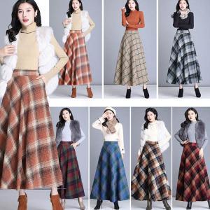 大きいサイズスカート チェック柄スカート 全7色 Aライン 学院風 レディース ロングスカート S-4L 1911 1912 2001秋冬|ail
