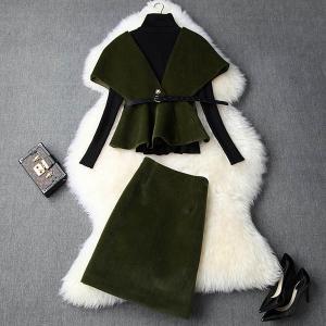 大きいサイズスーツ 高品質 ニット+ジャケット+スカート 三点セット 大人カジュアル アンサンブル レディース ミセス 1911 1912 2001秋冬|ail