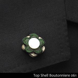 ブートニエール ラペルピン 新品 メンズジャケットを粋に決める 3段重ね フェルト×白蝶貝 ケース付き BN-061 aimagain