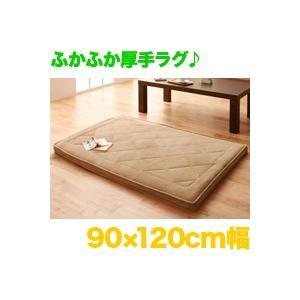 厚さ5cm マイクロファイバーラグ 幅90cm × 120cm 絨毯 床暖房ホットカーペット対応 敷きパッド 滑止付 aimcube