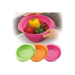 コンパクトに収納!たためるシリコンざる/全3色,パスタの湯きり,野菜の水洗いに大活躍,ハンドル付|aimcube