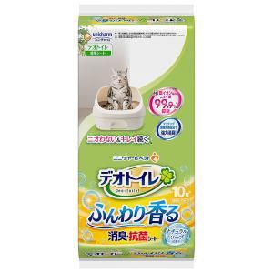 ユニチャ−ム デオトイレ ふんわり香る消臭・抗菌シート 爽やかなナチュラルソープの香り 10枚入(1週間用×10枚)|aimu
