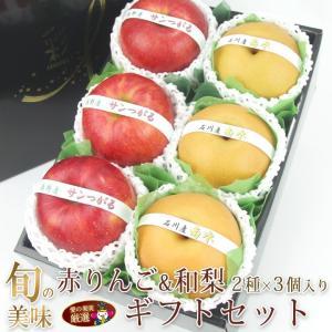 【旬の美味 赤りんご&和梨 2種 ギフト セット】リンゴ 林檎 梨 フルーツ くだもの 果物 敬老の日 お彼岸 残暑見舞い|aino-kajitu