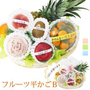 【季節のフルーツ平かご盛 ギフト B】フルーツ 果物 くだもの 敬老の日 お彼岸 残暑見舞い|aino-kajitu