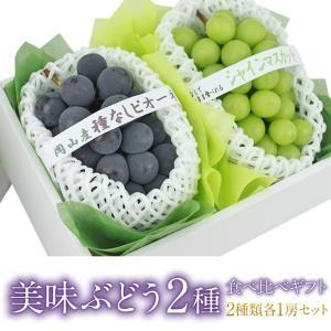 ぶどう フルーツ くだもの 果物【国産 美味 ぶどう 2種 食べ比べ ギフト セット (シャインマスカット 種なし ピオーネ)】|aino-kajitu