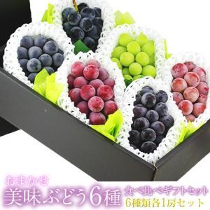 ぶどう フルーツ くだもの 果物【国産 美味 種なし ぶどう 6種 食べ比べ ギフトセット(シャインマスカット1〜2種 赤ぶどう1〜3種 黒ぶどう2〜3種)】|aino-kajitu
