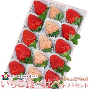 いちご フルーツ くだもの 果物【いちご 食べ比べ ギフト セット(2〜3種類)15個入 あまおう苺 ゆめのか 白いちご (淡雪あわゆき)】|aino-kajitu