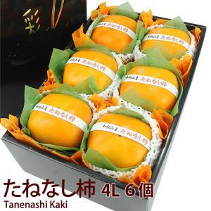 【たねなし柿(4L・6個入)(和歌山産 奈良産)平核柿 または 刀根柿】種なし柿 フルーツ くだもの 果物 敬老の日 お彼岸 残暑見舞い|aino-kajitu