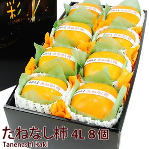【たねなし柿(4L・8個入)(和歌山産 または 奈良産 )平核柿 または 刀根柿】種なし柿 フルーツ くだもの 果物 敬老の日 お彼岸 残暑見舞い|aino-kajitu