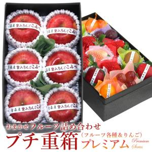 フルーツ くだもの 果物 暑中見舞い お中元 お盆 父の日 【プチ重箱プレミアム】 FPJ-2(プチフルーツ15個・蜜入りりんご(こみつ または こうとく)6個)|aino-kajitu