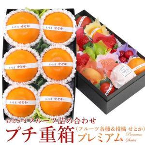 フルーツ くだもの 果物 桃の節句 ひなまつり ホワイトデー 【プチ重箱プレミアム】 FPJ-6(プチフルーツ15個 せとか6個入り)|aino-kajitu