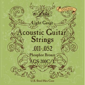 【アコギ弦×1セット】ARIA AGS-200C/L [11-52] アコースティックギター用 コーティング弦/メール便発送・代金引換不可