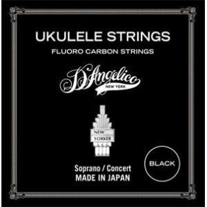 【弦×6セット】D'Angelico ASU-MED-BK(Medium)/BLACK×6 ソプラノ/コンサートウクレレ弦 フロロカーボン /メール便発送・代金引換不可|aion