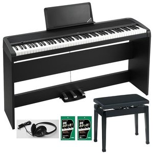 KORG B1SP-BK(日本製高低自在イス/P-50+純正ヘッドホン+鍵盤みがっき×2袋付) スタンドと3本ペダル・ユニットが付属/エントリーモデル電子ピアノ/送料無料 aion