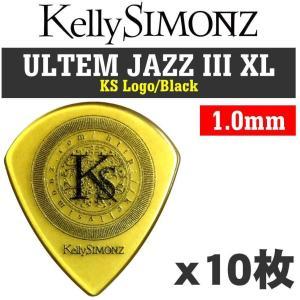 【10枚セット】Kelly SIMONZ(ケリーサイモン) オリジナルピック KSJZ3-100 ウルテム JAZZ III XL 1.00mm KS ロゴ/Black/メール便発送・代金引換不可|aion