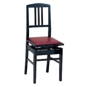 甲南 No.5 (本体:黒/座面:エンジ) ピアノイス 背もたれ付高低自在ピアノ椅子 トムソン椅子