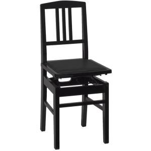 甲南 No.5 (本体:黒/座面:黒) ピアノイス 背もたれ付高低自在ピアノ椅子 トムソン椅子