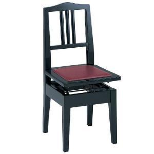 甲南 No.6 (本体:黒/座面:エンジ) ピアノイス 背もたれ付高低自在ピアノ椅子 トムソン椅子/送料無料