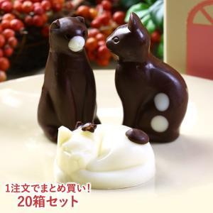 お菓子 まとめ買い ねこチョコレート ネコチョコ 猫 3個 お家のギフト箱入り 20箱セット | かわいい スイーツ おかし|aionline-japan