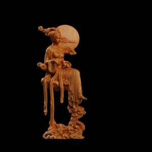 月の神 嫦娥 中秋 置物 木彫り 天女像 中国神話人物 手作り 美術品 中秋の贈り物    かぐや姫...