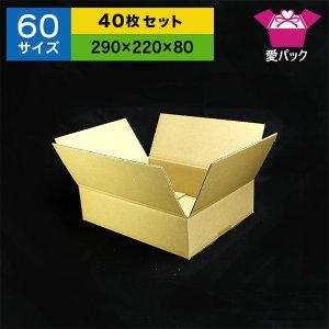 送料無料 ダンボール 段ボール 60サイズ 40枚セット ダンボール箱 日本製 無地 薄型 通販用 小物用