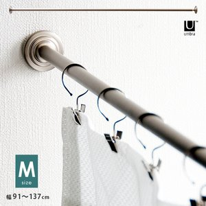 カーテンレール つっぱり シングル おしゃれ 突っ張り つっぱり棒 ハンガーラック 突っ張り 穴あけ不要 簡単取り付け Mサイズ(91cm〜137cm)|air-r