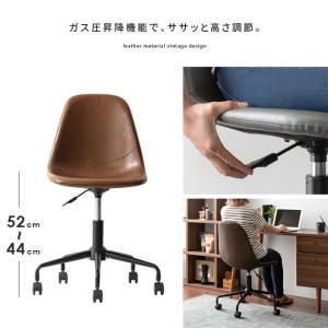 デスクチェア オフィスチェア おしゃれ パソコンチェア レザー 革 椅子 イス 回転 昇降式 キャスター付き ヴィンテージ インダストリアル ワークチェア|air-r|11