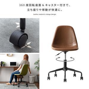 デスクチェア オフィスチェア おしゃれ パソコンチェア レザー 革 椅子 イス 回転 昇降式 キャスター付き ヴィンテージ インダストリアル ワークチェア|air-r|12