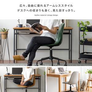 デスクチェア オフィスチェア おしゃれ パソコンチェア レザー 革 椅子 イス 回転 昇降式 キャスター付き ヴィンテージ インダストリアル ワークチェア|air-r|13