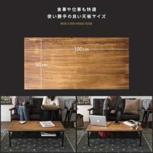 ローテーブル リビングテーブル おしゃれ 木製 センターテーブル 収納 棚付き リビング テーブル ブルックリン ヴィンテージ カフェテーブル インダストリアル air-r 11