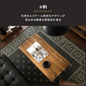 ローテーブル リビングテーブル おしゃれ 木製 センターテーブル 収納 棚付き リビング テーブル ブルックリン ヴィンテージ カフェテーブル インダストリアル air-r 05