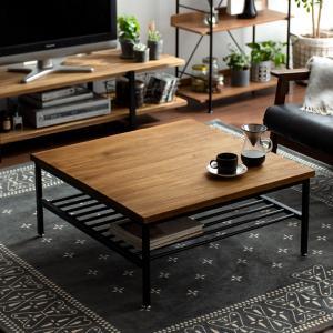 ローテーブル リビングテーブル おしゃれ 木製 正方形 収納付き 棚付き センターテーブル カフェ インダストリアル ブルックリン コーヒーテーブルの写真