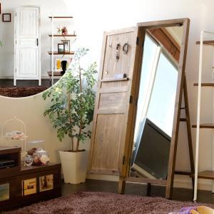 ミラー スタンドミラー 鏡 姿見 全身 木製 ウッド 北欧 モダン ミッドセンチュリー おしゃれ アンティーク 扉付きウッドスタンドミラー|air-r