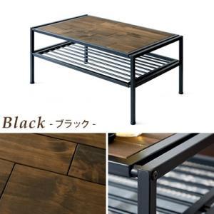 ローテーブル リビングテーブル センターテーブル おしゃれ 木製 収納 棚付き 長方形 西海岸 ヴィンテージ 天然木 カフェテーブル アイアン ブルックリン|air-r|02