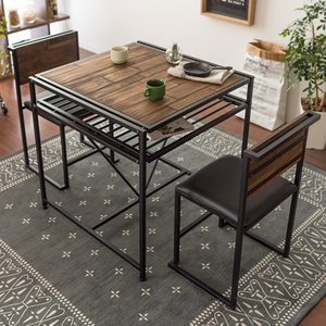ダイニングテーブルセット 2人用 3点 ダイニングセット 二人用 おしゃれ カフェテーブルセット 食卓テーブルセット 木製 ヴィンテージ 西海岸 ブルックリン|air-r