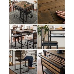 ダイニングテーブルセット 2人用 3点 ダイニングセット 二人用 おしゃれ カフェテーブルセット 食卓テーブルセット 木製 ヴィンテージ 西海岸 ブルックリン|air-r|02