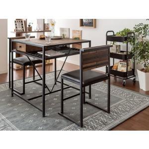ダイニングテーブルセット 2人用 3点 ダイニングセット 二人用 おしゃれ カフェテーブルセット 食卓テーブルセット 木製 ヴィンテージ 西海岸 ブルックリン|air-r|06