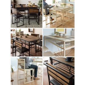 ダイニングテーブルセット 4人用 5点 ダイニングセット 4人掛け おしゃれ 木製 スチール アイアン 西海岸 インダストリアル ブルックリン 食卓テーブルセット|air-r|02