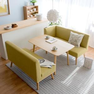 ダイニングテーブルセット 4人用 おしゃれ 3点セット ソファ ダイニングセット 四人用 カフェテーブル セット 食卓テーブルセット 北欧 木製 ナチュラル|air-r|05