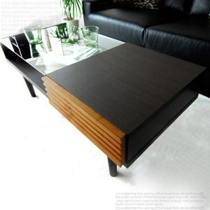 ローテーブル おしゃれ ガラス 木製 引き出し リビングテーブル 長方形 収納付き センターテーブル ガラステーブル 北欧 モダン ダークブラウン|air-r