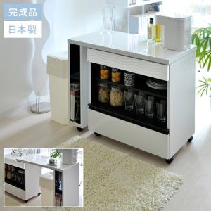キッチンカウンター 食器棚 間仕切り 収納 幅90〜140 日本製 完成品 キッチン 収納 おしゃれ 北欧 モダン シンプル キャスター付 キッチンワゴンの写真