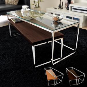ローテーブル リビングテーブル ガラス 木製 ガラステーブル おしゃれ ネストテーブル センターテーブル 北欧 シンプル モダン ローネストテーブル|air-r