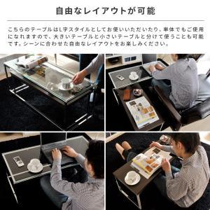 ローテーブル リビングテーブル ガラス 木製 ガラステーブル おしゃれ ネストテーブル センターテーブル 北欧 シンプル モダン ローネストテーブル|air-r|05