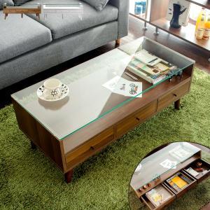 ローテーブル おしゃれ ガラス 木製 リビングテーブル 引き出し 収納 センターテーブル 北欧 シンプル モダン ディスプレイ ガラステーブル リビングの写真