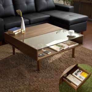 ローテーブル リビングテーブル ガラステーブル おしゃれ センターテーブル 木製 ガラス 北欧 モダン ミッドセンチュリー 収納 引き出し リビング テーブル|air-r