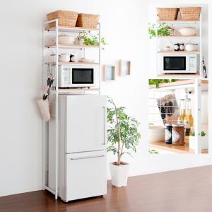 キッチンラック キッチン 収納 冷蔵庫ラック レンジラック レンジ台 スリム 北欧 おしゃれ シンプル ナチュラル 収納棚 冷蔵庫上ラック ホワイト 白 冷蔵庫上|air-r