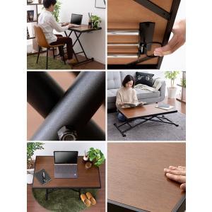 リビングテーブル 昇降式テーブル センターテーブル リフティングテーブル おしゃれ 北欧 モダン シンプル ローテーブル 高さ調整 キャスター付き|air-r|02