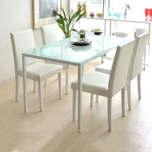 ダイニングテーブルセット 4人用 5点 ガラス 白 ホワイト 120cm ダイニングセット 4人掛け 北欧 モダン シンプル 四人掛け 食卓 カフェ風の写真