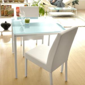 ダイニングテーブルセット 2人用 3点 ガラス 白 75cm幅 北欧 モダン